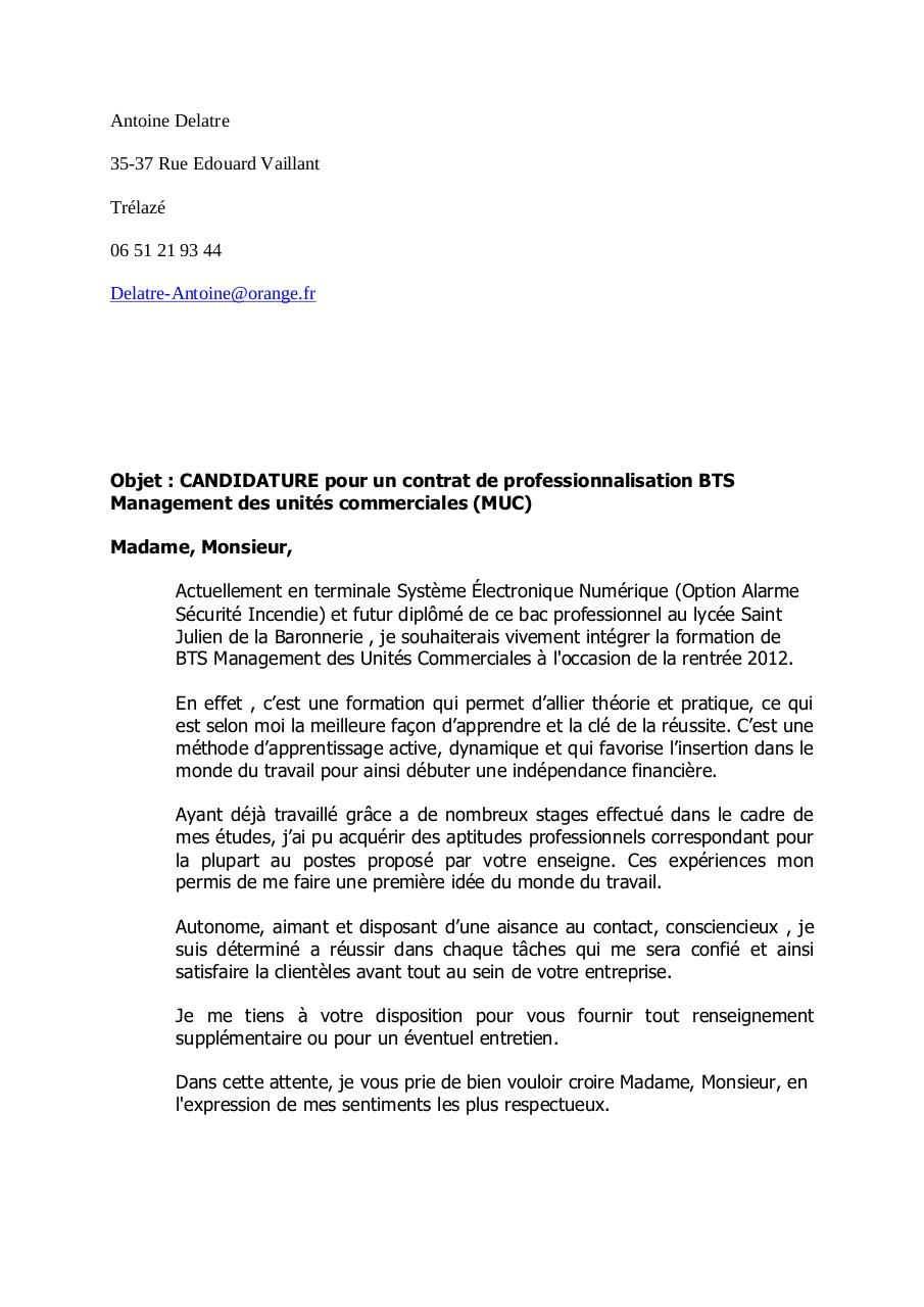 cv contrat de professionnalisation assistant bts notariat