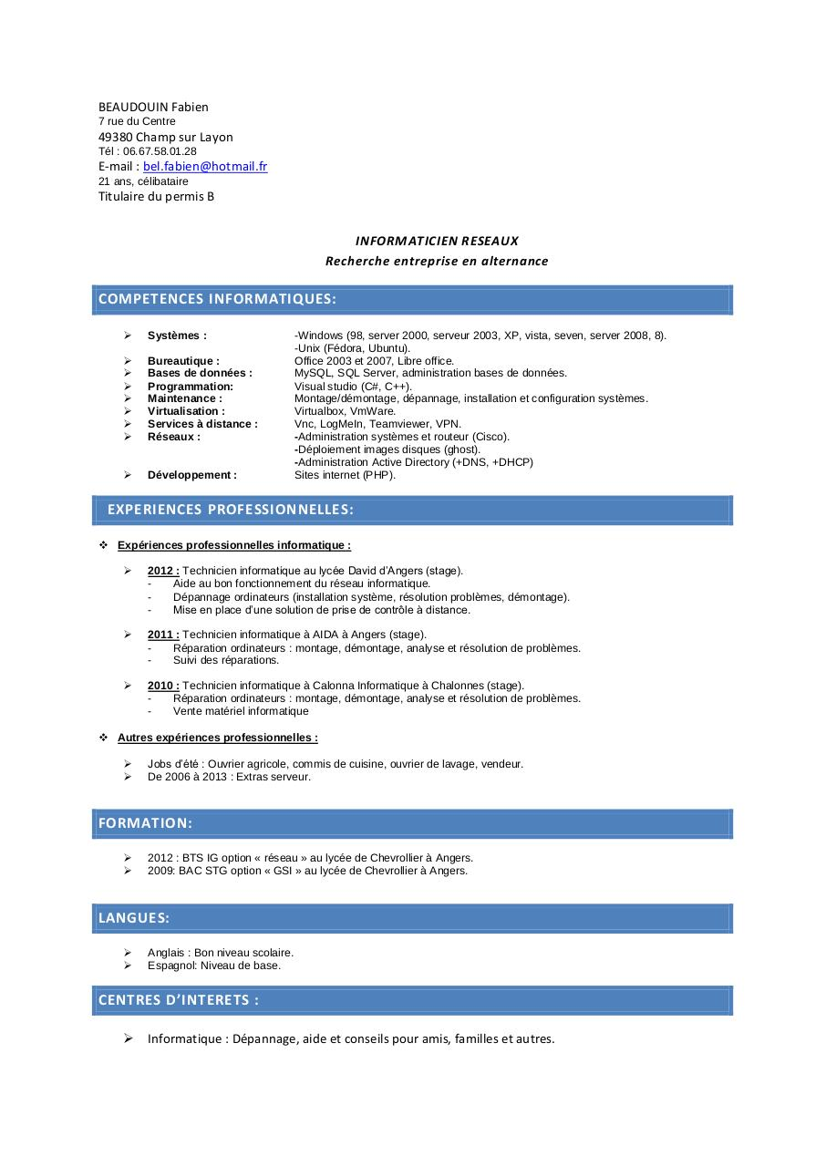 cv pro candidature licence pdf