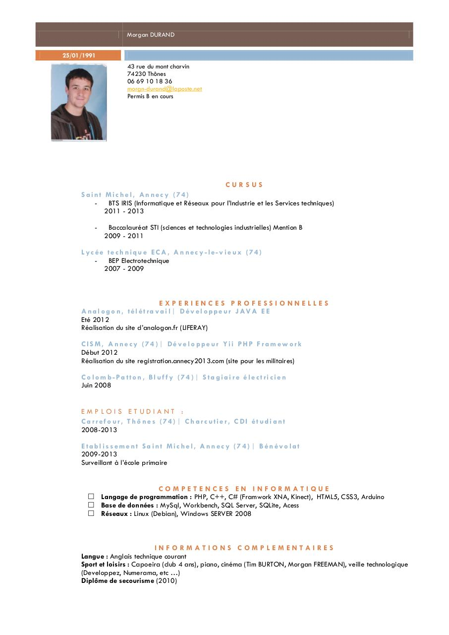 langage de programmation cv en anglais
