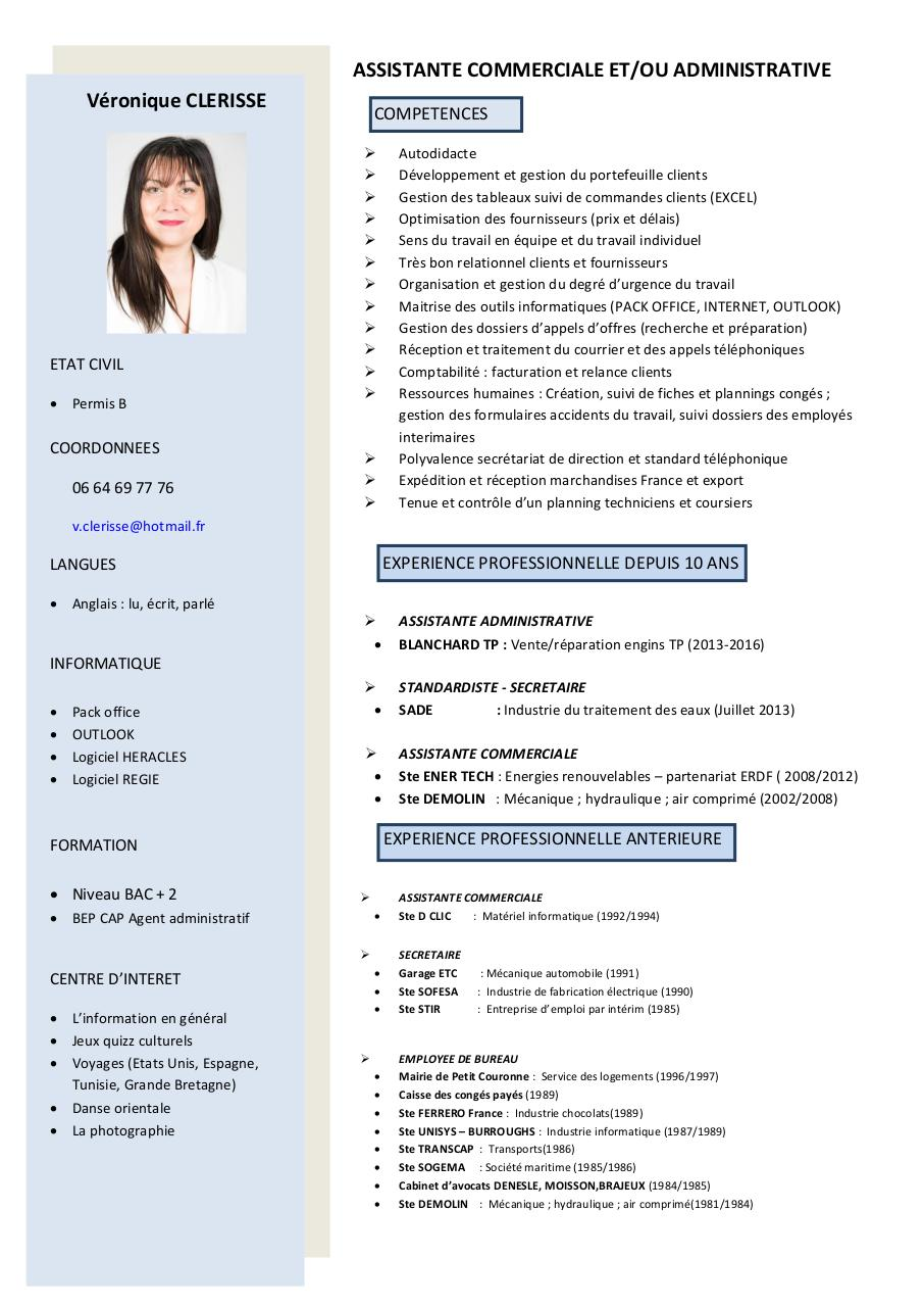 document cv assistante commerciale