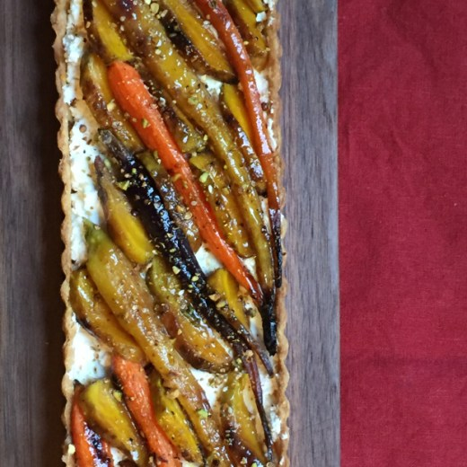 Roasted Carrot, Golden Beet And Goat Cheese Tart With Dukkah