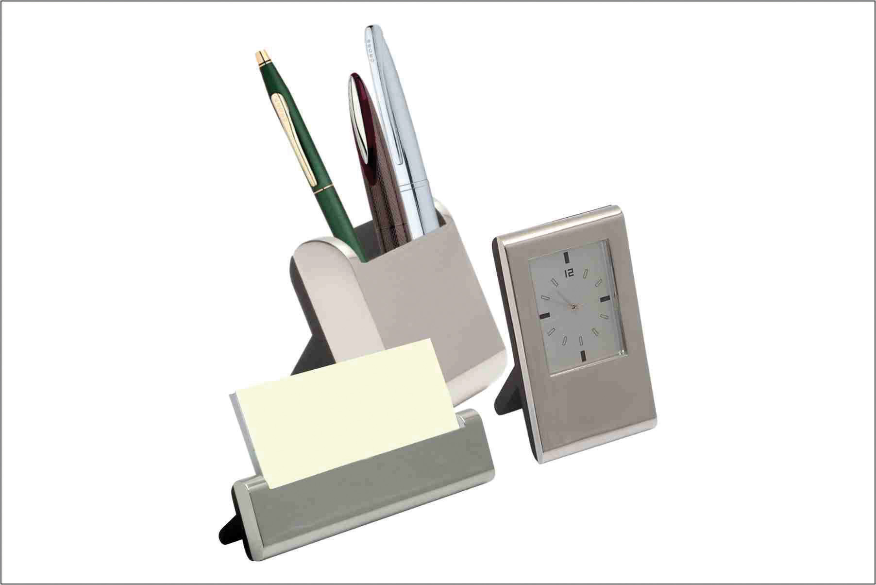 Pen And Holder Set 3pc Desktop Set Clock Pen Holder And Card Holder