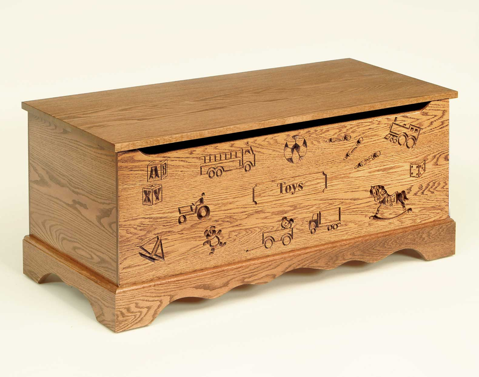 Toy Chests Logan Engraved Toy Oak Chest