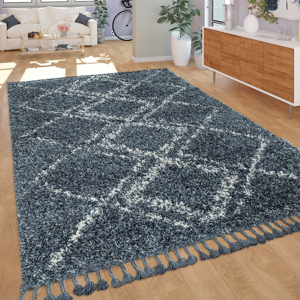 Tapis De Salon Tapis Salon Shaggy Poils Longs Moderne Carreaux Losanges Motif