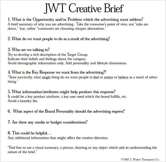 JWT Creative Brief Advertising Pinterest - company information template