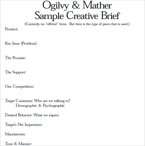 Ogilvy Brief Creative Briefs Pinterest - behavior consultant sample resume