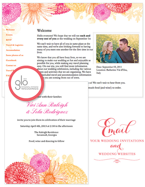 Email Wedding Invitations and Organize Your Wedding with Glo