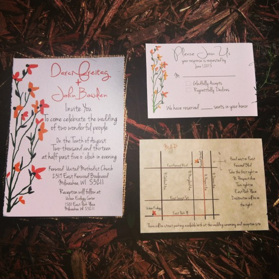 Rustic Floral Wedding invites with rsvp cards  Maps