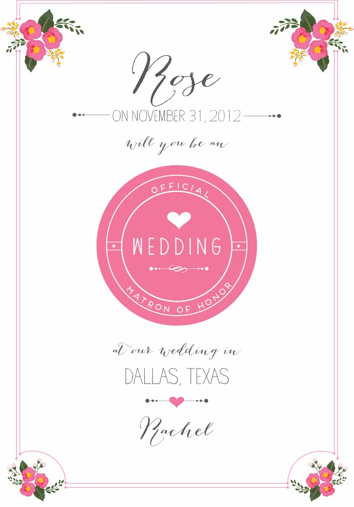 Print - Will You Be My Bridesmaid Free Printable Cards