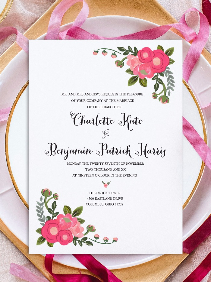 Print - Pink Flowers Free Printable Invitation Templates - invitation downloads