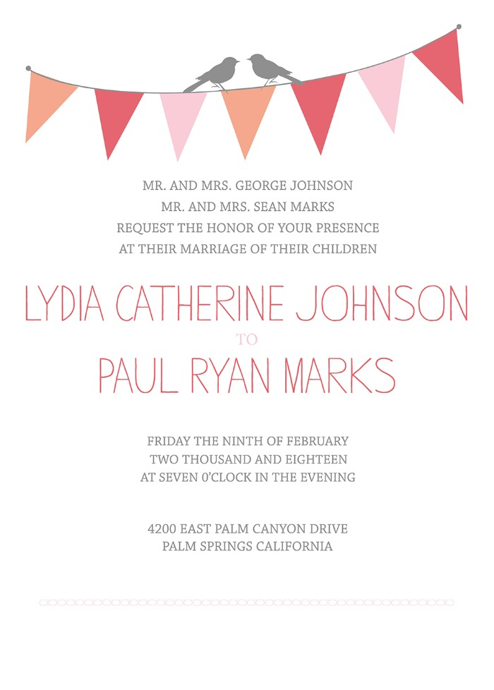 Print - Bunting Free Printable Wedding Invitation Suite