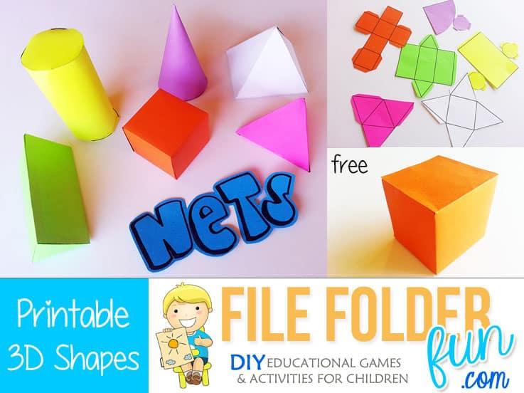 Printable 3D Nets - File Folder Fun
