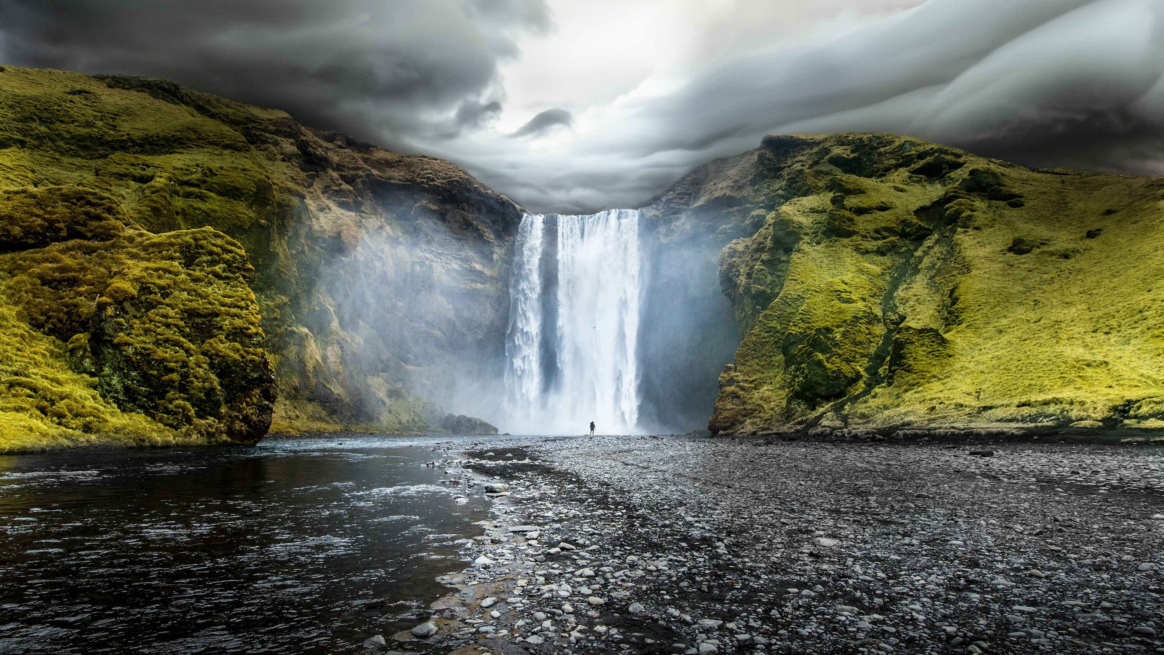 Northern Lights 3d Wallpaper Skogafoss Waterfalls Iceland Wallpapers In Jpg Format For