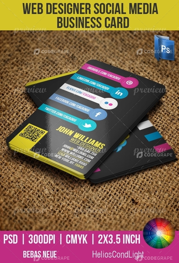Web Designer Social Media Business Card - Print CodeGrape - web designer business card
