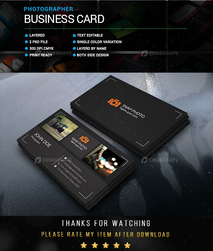 Photographer Business Card - Print CodeGrape