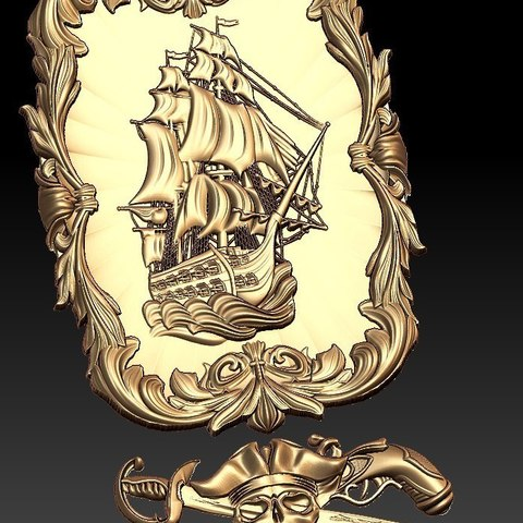 Free 3D print files Pirate ship boat cnc art frame router ・ Cults
