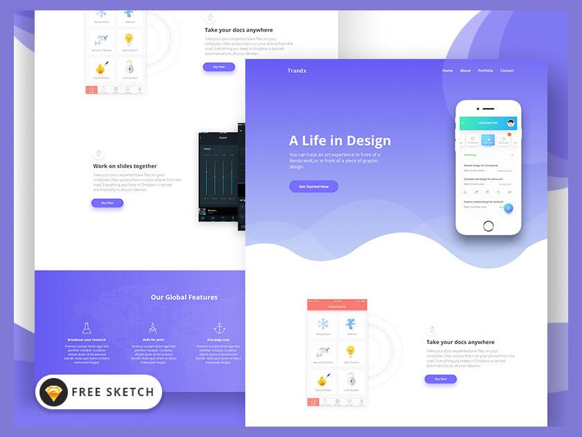 Trandx - app landing page template - Fluxes Freebies - app landing page template