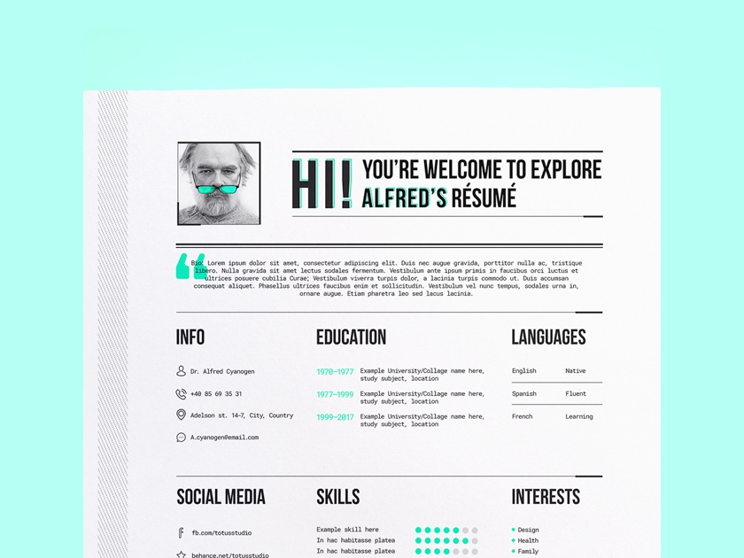 Free Illustrator Resume/CV Template - Fluxes Freebies