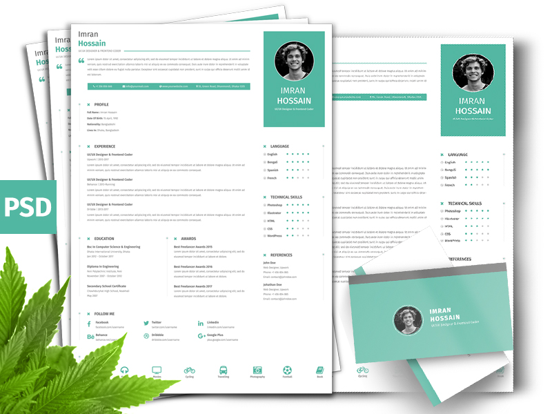 Professional Resume and Business Card PSD Template - Fluxes Freebies - business card resume