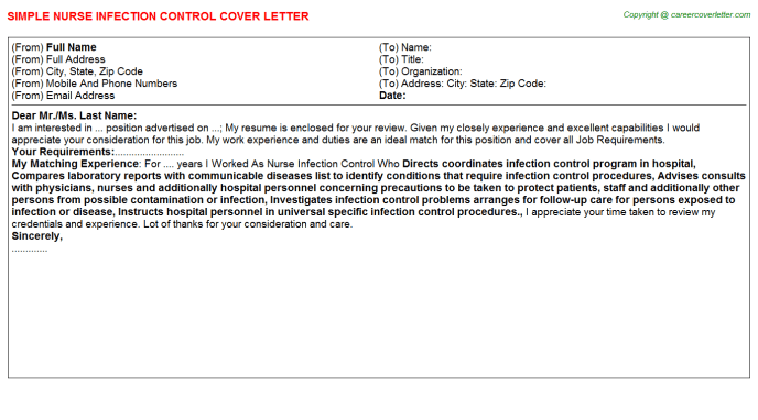resume cover letter for infection control nurse