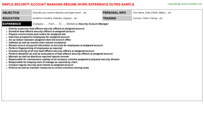 security branch manager example resume