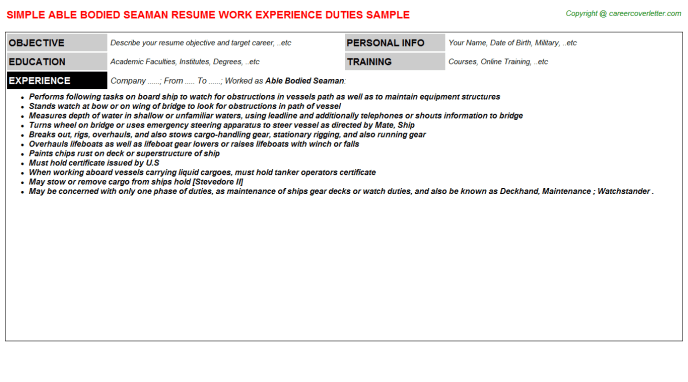 work experience resume for seaman
