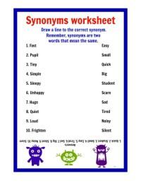 Free Printable Synonym Worksheets - Bluegreenish