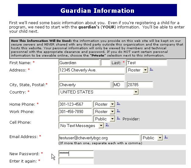 Enter Contact Information Cheverly Boys  Girls Club - personal contact information form