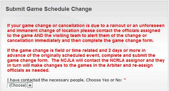 Game Change or Cancellation Northern California Junior Lacrosse