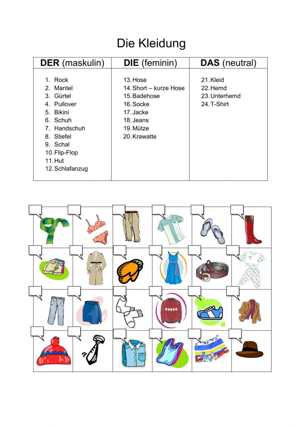 Kleider Interactive Worksheet