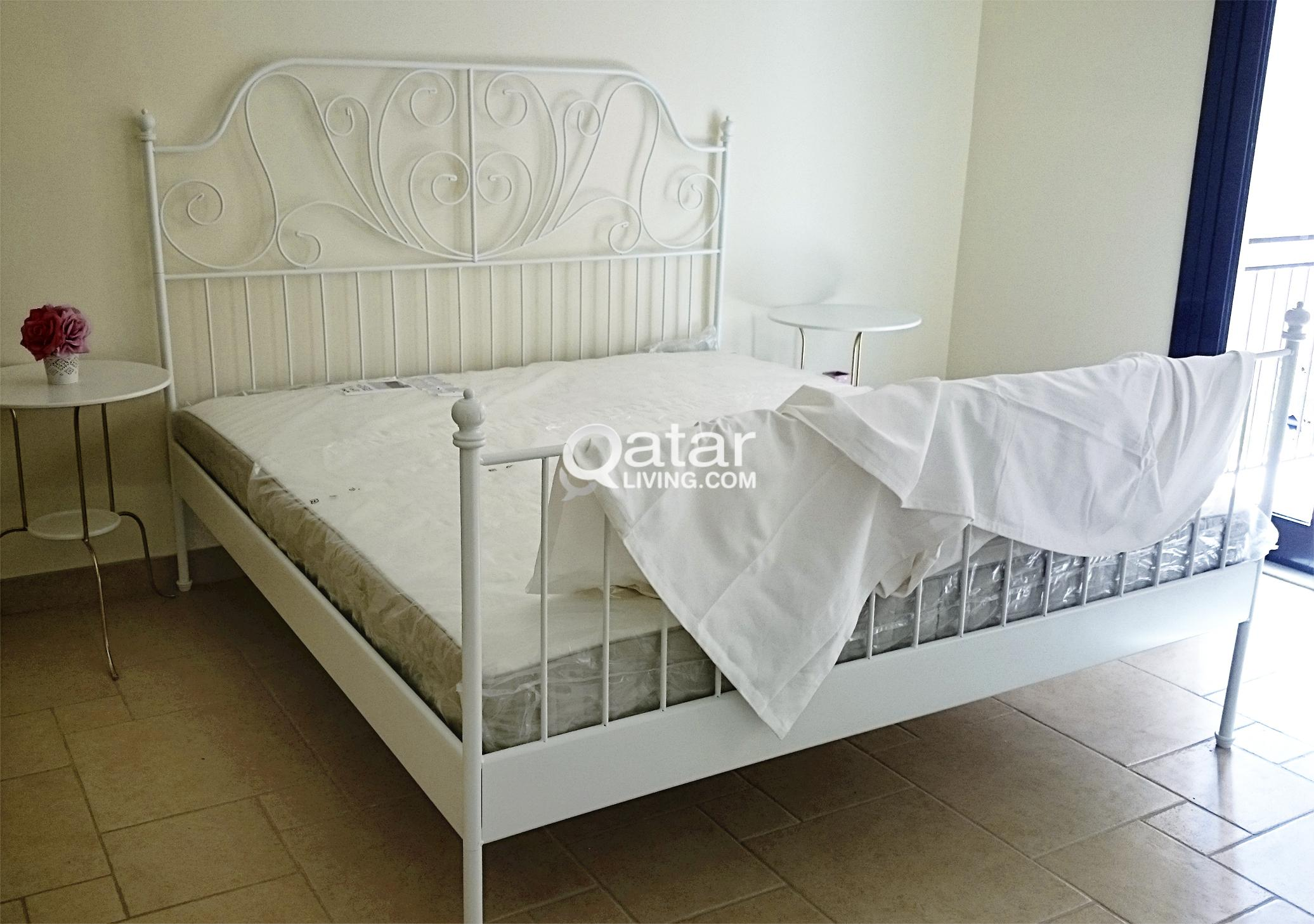 180 X 200 Large Ikea Leirvik White Metal Bed With Hafslo Mattress 180x200 Cm