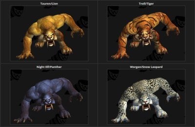 The new Shivallah forms for each Druid race. [Image modified from WoW ...