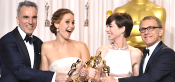 Daniel Day-Lewis Jennifer Lawrence Anne Hathaway Christopher Waltz Oscars 2013