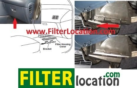 Dodge Grand Caravan cabin air filter location From year 2001, 2002