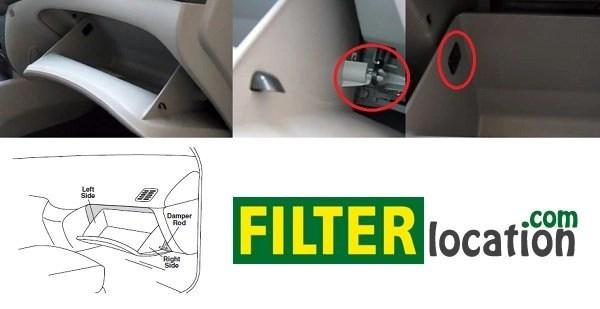 Locate Hyundai Azera cabin air filter