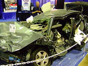 A Chevrolet Malibu involved in a rollover crash