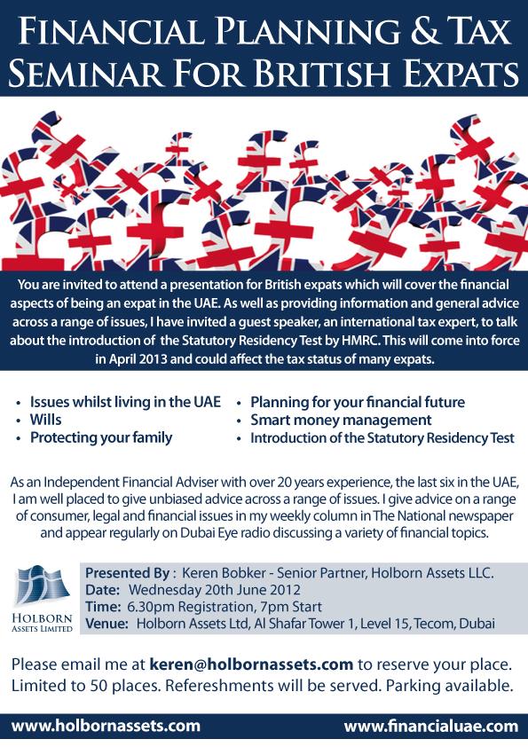 Financial Planning  Tax Seminar for British Expats Financial