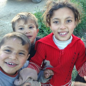 Syrian refugee kids at Zahle refugee camp, Lebanon