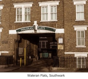 Waleran Flats Southwark with caption