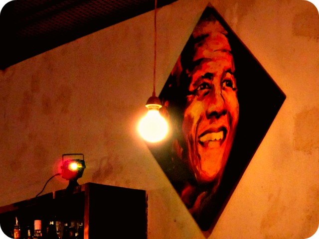 Mandela poster at Sixes