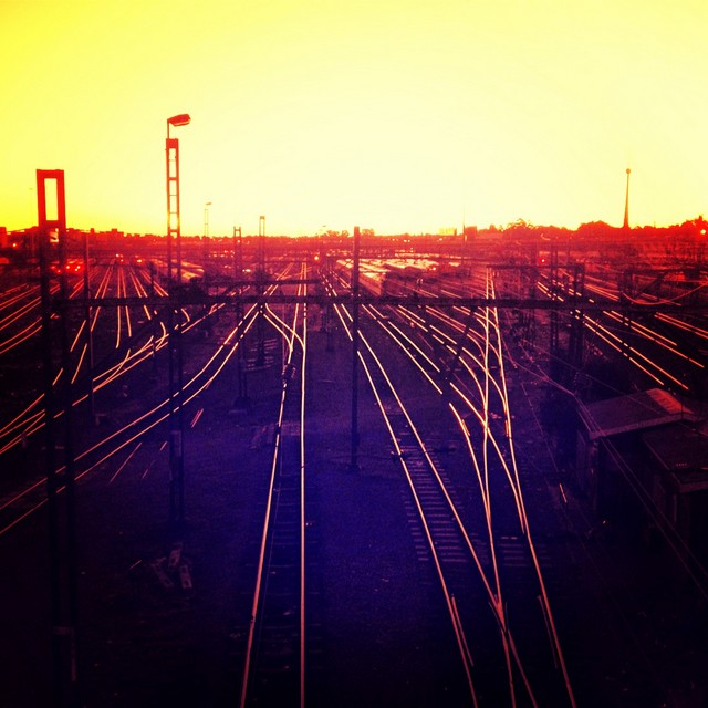 Sunset and the glistening train tracks