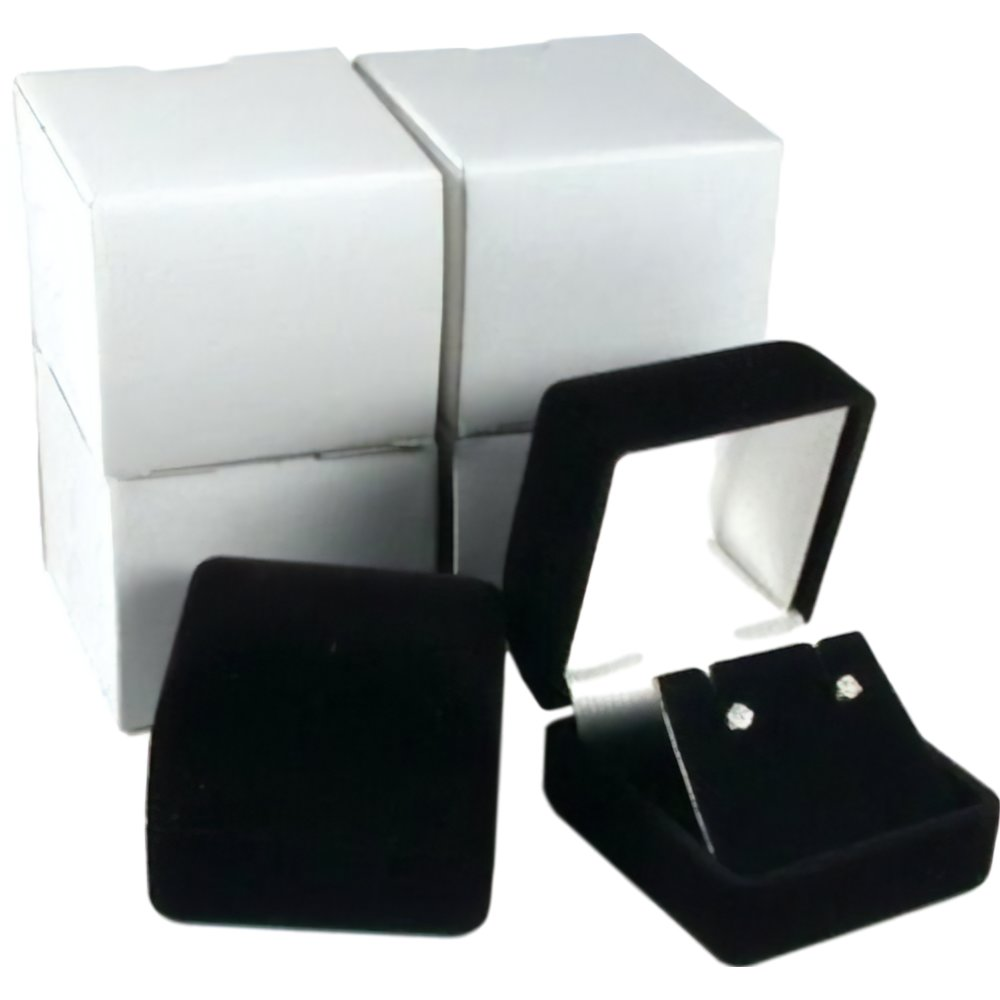 Black Gift Boxes 4 Black Flocked Earring Gift Boxes Jewelry Box