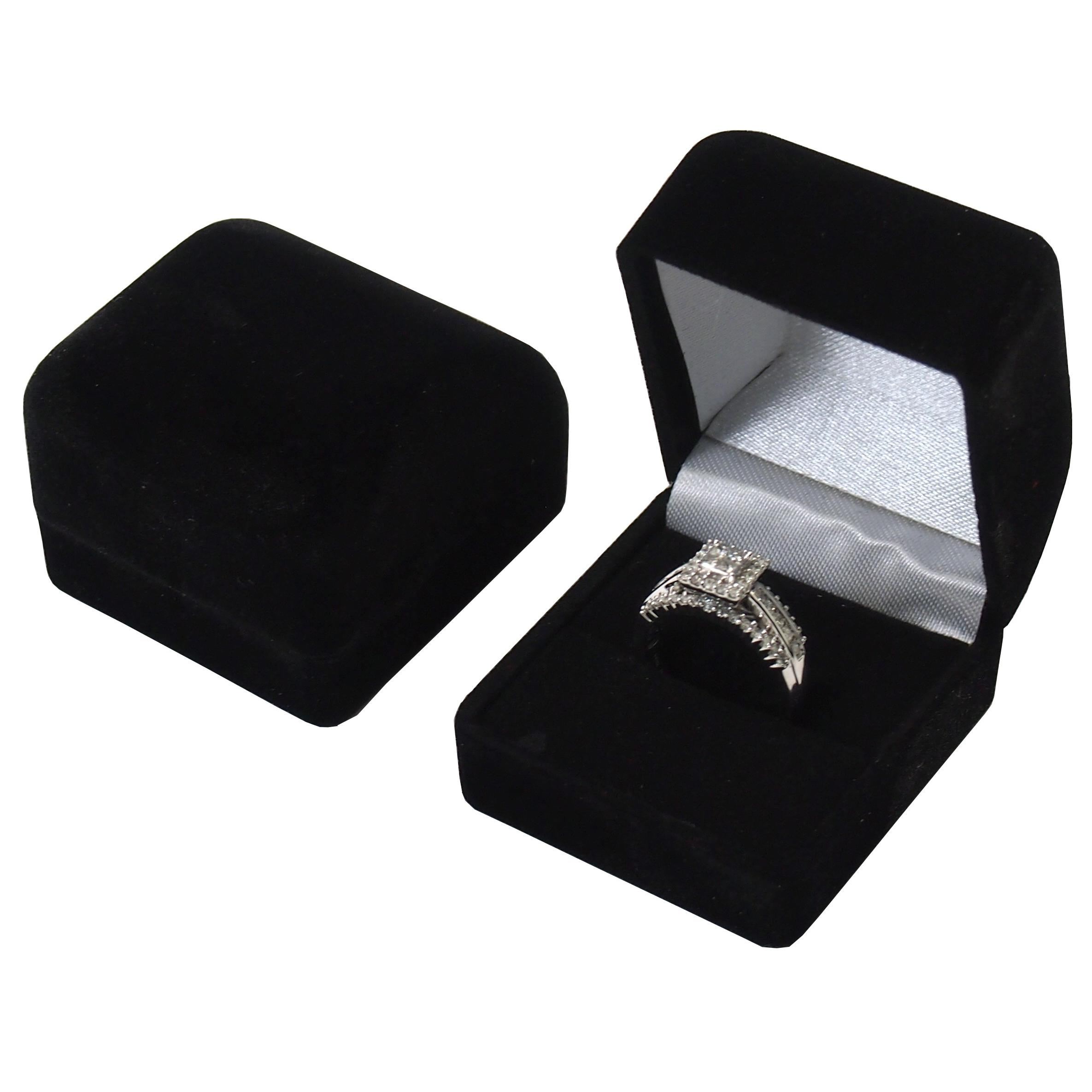 Black Gift Boxes 2 Black Flocked Ring Gift Boxes Jewelry Displays