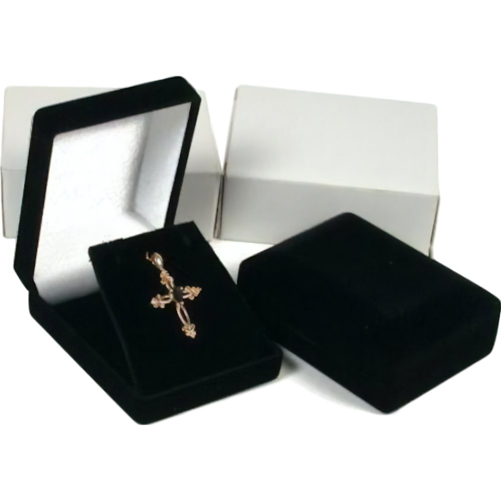 Black Gift Boxes 2 Necklace Pendant Gift Boxes Jewelry Displays Black