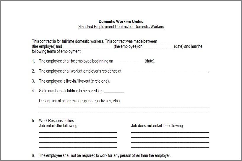 Doc#575709 Nanny Agreement Contract u2013 Sample Nanny Contract - job agreement contract