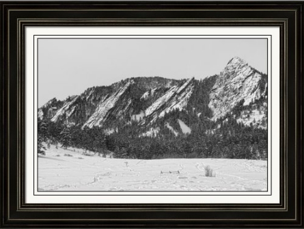 Boulder Colorado Flatirons With Snow BW Framed Fine Art Print