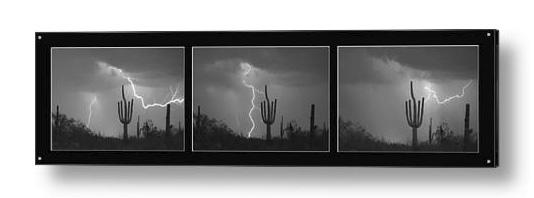 Southwest Saguaro Cactus Desert Storm Panorama Bw Acrylic Print