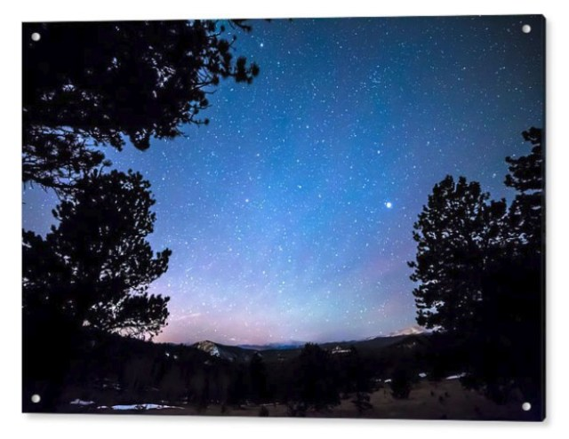 Starry Rocky Mountain Forest Night Acrylic Print