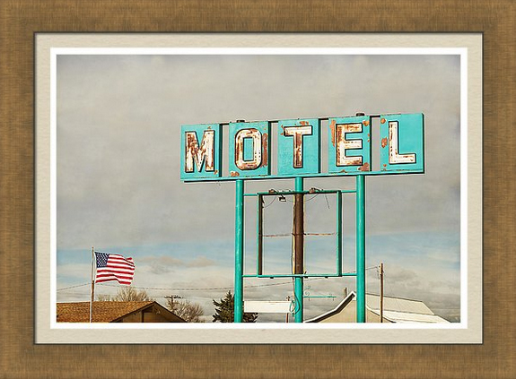 American Retro Motel Sign Framed Print