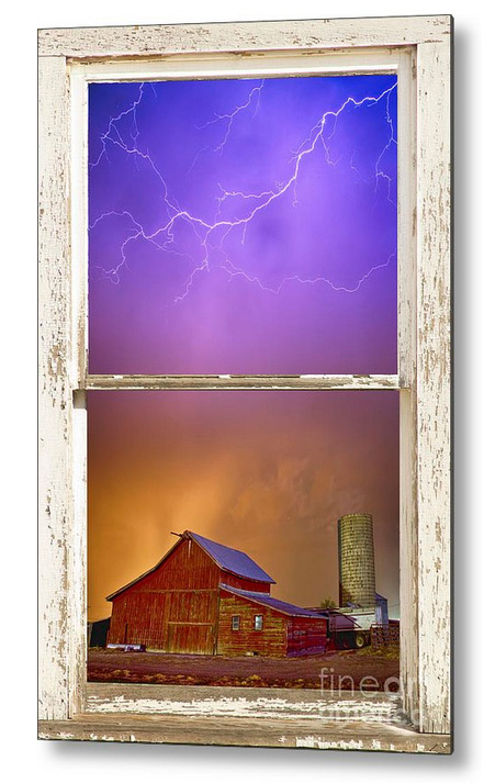 Colorful Storm Farm House Window View Metal Print